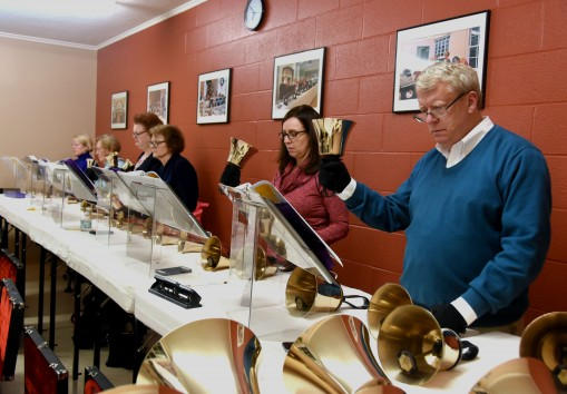 Handbell Choir in Rehearsal